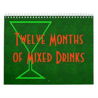 Doce meses de bebidas mezcladas básicas calendario