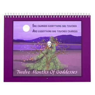 Doce meses de diosas calendario de pared