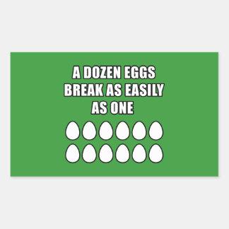Docena huevos pegatina rectangular