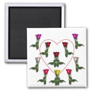Docena rosas y un corazón imanes