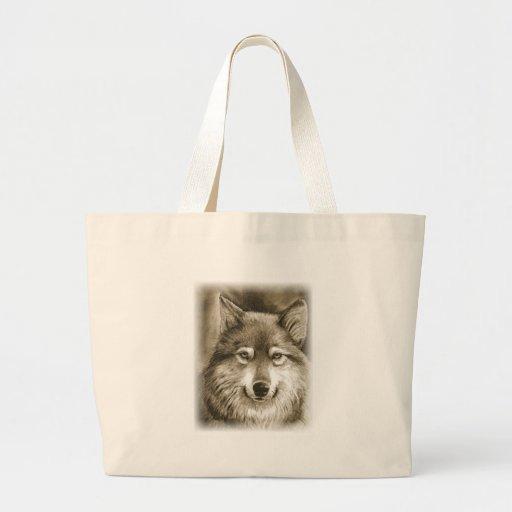 Docile grey wolf. canvas bag