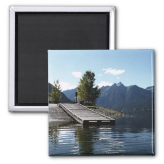 Dock and Boat Launch at the Lake 2 Inch Square Magnet