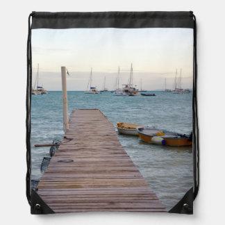 Dock and lobster pots drawstring bag