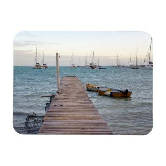 Dock and lobster pots rectangular photo magnet