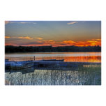 Dock and Rowboat Sunset Poster