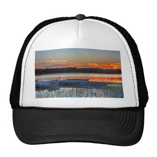 Dock and Rowboat Sunset Trucker Hat