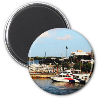 Dock at King's Wharf Bermuda 2 Inch Round Magnet