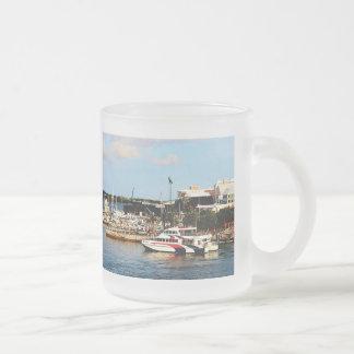 Dock at King's Wharf Bermuda Frosted Glass Coffee Mug