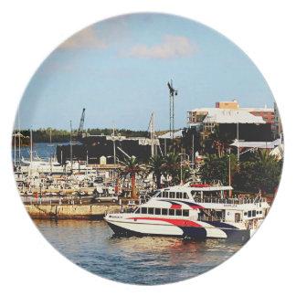 Dock at King's Wharf Bermuda Melamine Plate