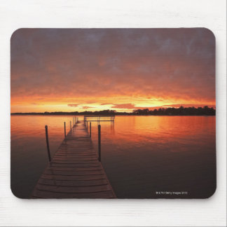 Dock at sunset on Lake Minnetonka,MN. Mouse Pad