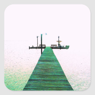 Dock Bay Ocean Calm Texas Coast Square Sticker