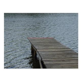Dock by lake postcard