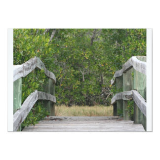 Dock leading into green mangrove stand 5x7 paper invitation card