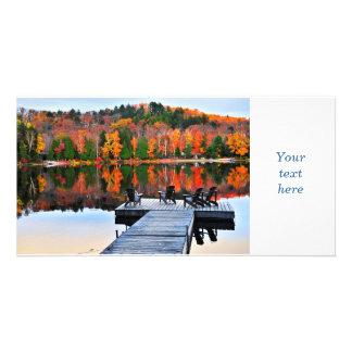 Dock on autumn lake photo card