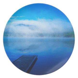 Dock on calm misty lake, California Dinner Plate