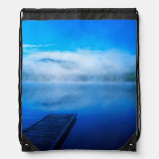 Dock on calm misty lake, California Drawstring Bag