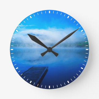 Dock on calm misty lake, California Round Clock