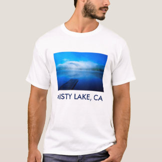Dock on calm misty lake, California T-Shirt