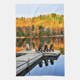 Dock on lake in fall hand towels