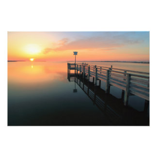 Dock on Sunset Waters Photo Print