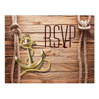 dock wood beach anchor nautical wedding rsvp postcard