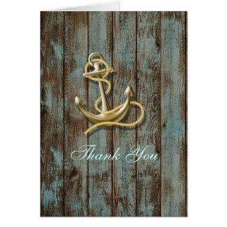 dock wood beach anchor nautical wedding thank you card
