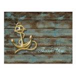 dock wood beach anchor nautical wedding thank you postcard