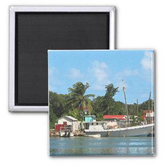 Docked Boats Antigua Fridge Magnets