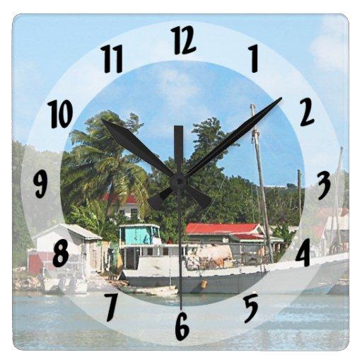Docked Boats Antigua Square Wallclock