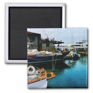 Docked Boats in Newport RI 2 Inch Square Magnet