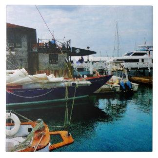 Docked Boats in Newport RI Ceramic Tile