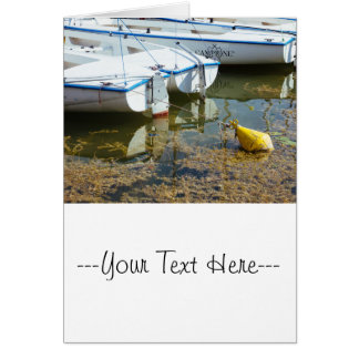 Docked Boats In Water, Nautical Photography Card