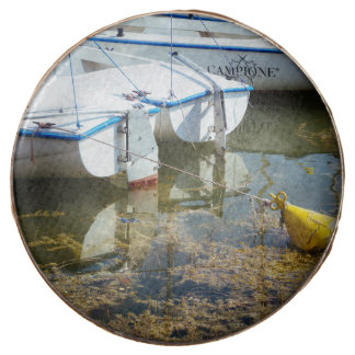 Docked Boats In Water, Nautical Photography Chocolate Covered Oreo
