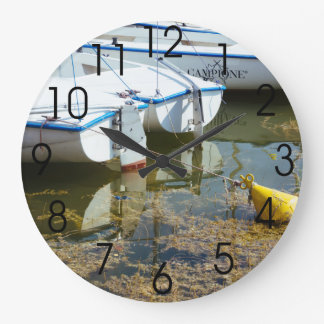 Docked Boats In Water, Nautical Photography Large Clock