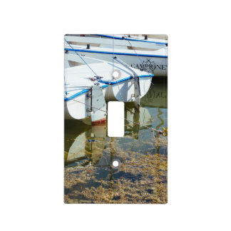 Docked Boats In Water, Nautical Photography Light Switch Cover