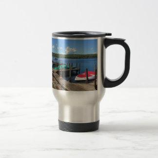 Docked Boats on Beautiful Lake 15 Oz Stainless Steel Travel Mug