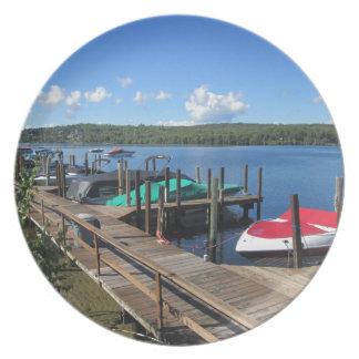 Docked Boats on Beautiful Lake Party Plates