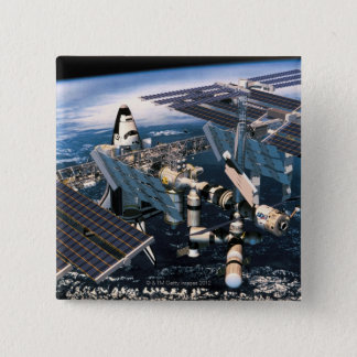 Docked Space Shuttle Pinback Button