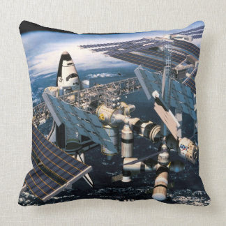 Docked Space Shuttle Throw Pillow