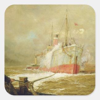 Docking a Cargo Ship Square Sticker