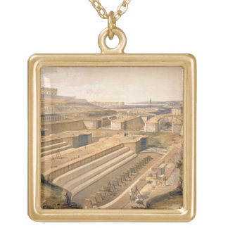 Docks at Sebastopol, plate from 'The Seat of War i Gold Plated Necklace