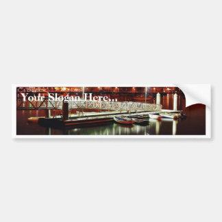 Docks Boats Night Skyline Bumper Sticker