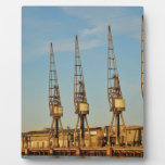 Dockside cranes display plaques