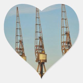 Dockside cranes heart sticker