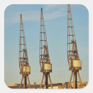 Dockside cranes square sticker