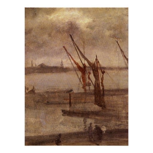 Dockyard of Chelsea, grey and silver by Whistler Poster