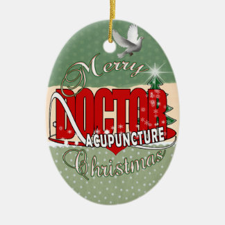 DOCTOR ACUPUNCTURE MERRY CHRISTMAS CERAMIC ORNAMENT