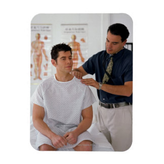 Doctor and patient rectangular photo magnet