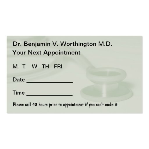 Doctor appointment cards business card template zazzle for Business card appointment template