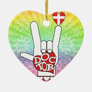 DOCTOR ASL SIGN I LOVE YOU - HEART - MEDICAL CROSS CERAMIC ORNAMENT